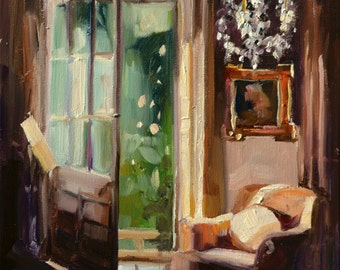 ROOM WITH a VIEW , Art Print of Original Oil Painting, interior art