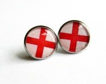English Flag Earrings, England Flag Stud Earrings, Patriotic Jewellery, Gift for Her, Hypoallergenic