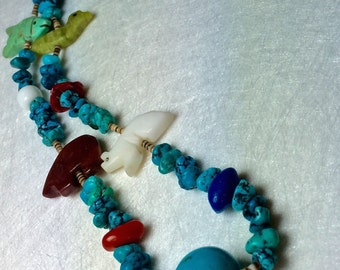 Native American Fetish Animal Necklace Carved Stone Animal Jewelry Southwest Pueblo Indian Turquoise Good Luck Charm Goddess Gift Wicca