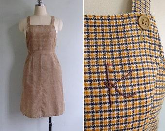 Vintage 70's 'Letter K' Orange Corduroy Plaid Pinafore Jumper Dress M
