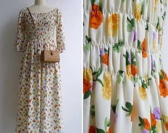 Vintage 70's 'Gathering Rosebuds' Cream Smocked Maxi Dress XS S or M