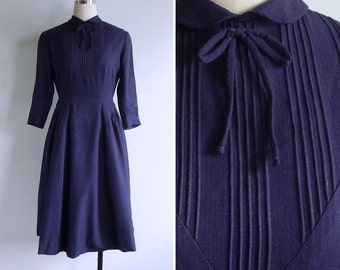 Vintage 50's 'Scholastic Pursuits' Midnight Blue Pintuck Peter Pan Collar Dress XS or S