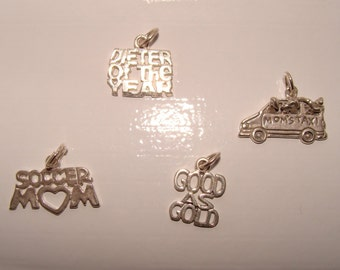 Sterling Silver Charms,Word Charms, Choice of Four Styles, Could be Pendant