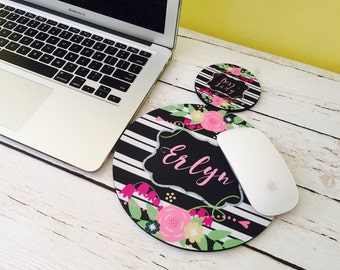 Mousepad Floral Mousepad  and coaster set, monogram gift, office desk accessories, office gifts, floral and stripes,