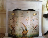Miniature Chinoiserie Distressed/Shabby Fire Screen for Dollhouse