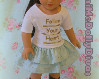 Follow Your Heart boho chic outfit made to fit your 18 inch doll such as american girl 3 piece set, skirt, top, and headband