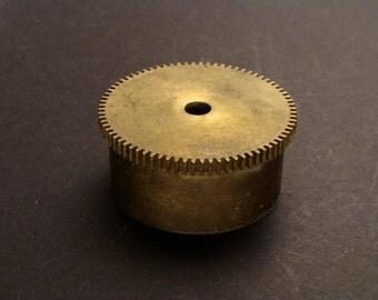 Large Brass Cylinder Gear, Mainspring Barrel from Vintage Clock Movement, Vintage Clockwork Mechanism Parts, Steampunk Art Supplies 03861