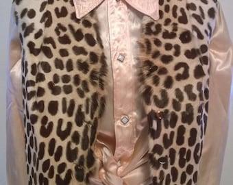 Vintage 1950's Fall PONY FUR Leopard Print Vest Western Modern
