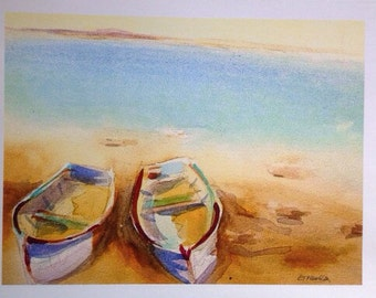 STUDIO CLEARANCE Two boats Watercolor Print rowboats on a beach 8 x 10