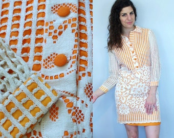 1960s 1970s Vintage Orange & White Floral Lace Overlay Collared Long Sleeve Midi Shift Dress w/ Sheer See Through Sleeves / Small Medium S M