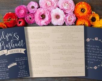 Indian Wedding Itinerary Welcome Cards Boho By KiwiAndBacon