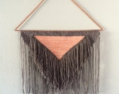 PEACH AND CHESTNUT//extra large peach and brown woven wall hanging
