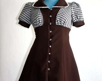 vintage 1960s Mini Dress brown and white flared Mod Girl Next Door Polyester Short dress