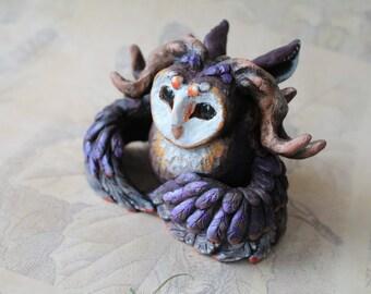 Owl Forest spirit Ooak polymer clay sculpture Art doll Miniature fantasy Barn owl Animal figurine Handmade figure Totem