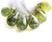 Olivine Teardrops, Olive Green Picasso czech glass drops, large Briolettes, pressed raindrop - 10x14mm - 6Pc - 2544