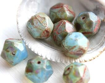 10mm English Cut Blue beads, Opal Blue, Picasso finish czech glass beads, large, round, fire polished - 8Pc - 0599