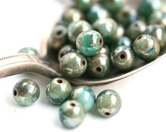 6mm Turquoise Green mixed round beads, Picasso, Travertin, Czech glass beads, round spacers, druk - 30Pc - 2604