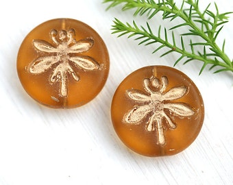Dragonfly beads, Amber yellow with Gold, czech glass pressed beads, golden Dragonflies ornament, coin - 18mm - 2Pc - 1204