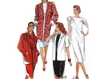 Pullover Straight Dress with Extended Cap Sleeves, Unlined Jacket in 3 Lengths, McCalls 4703 UNCUT Sewing Pattern Size 8-10-12 Bust 31 to 34