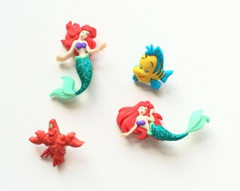 The Little Mermaid Magnets, Ariel Magnets, Flounder, Sebastian, Refrigerator Magnets, Party Favors, Disney Magnets