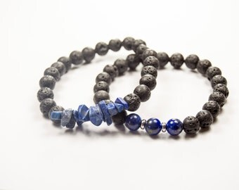 Third Eye (6th) Chakra - Anja - Intuition - To see - Lapis Lazuli & Lava bracelet - Essential Oil diffuser