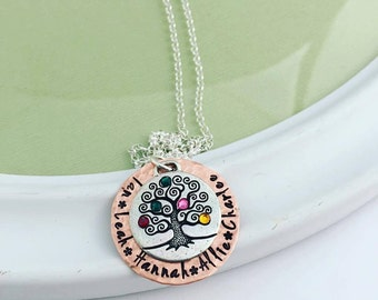 Custom Hand Stamped Personalized Hand Stamped Family Tree Necklace - Birthstone Necklace - Hand Stamped Jewelry - Necklace - Mother's Gift