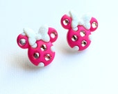 Minnie Earrings, Minnie Mouse Stud Earrings, Pink Minnie Earrings, Rhinestones, Minnie Studs, Disney Inspired, Cruise
