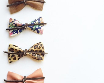 Leather Bow Four Pack, Leopard, Brown, Floral, Coral, Headband, Clip, Baby, Girl, Toddler, Accessory