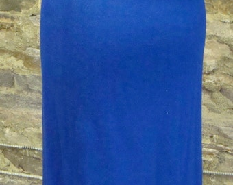 ROYAL BLUE pencil SKIRT pull on knit 1960's vintage S