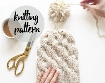 Cable Beanie Knitting Pattern, Chunky Twist Pom-Pom Hat / Knitting Project With Photos / Instant PDF Download