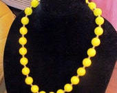On Sale-ROUND YELLOW Beaded VINTAGE Necklace
