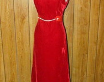 Gorgeous Bonwit Teller RED VELVET Rhinestone MAXI Dress