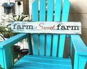 Farm Sweet Farm Wood Sign Orange Black Brown Stenciled Farmhouse Style Home Decor Distressed Repurposed Wood Sign