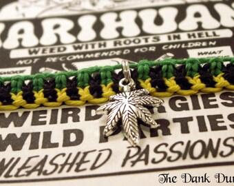 Marijuana Leaf Bracelet, Cannabis Leaf Bracelet, Roach Clip Bracelet, Hemp Jewelry, 420 Hemp Bracelet, Weed Leaf Jewelry, Marijuana Jewelry