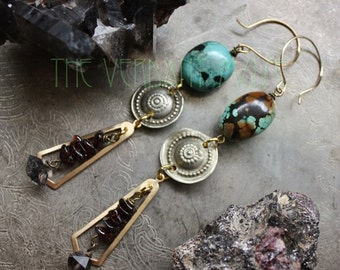 SUBLIMATION <WATER> Turquoise, Garnet, and Herkimer Quartz Earrings Witchy Alchemy Collection