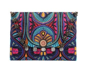 Coin & Bells Clutch With Embroidered Fabric Handmade Thailand (BG306WB-64C2)