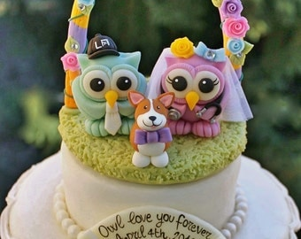 Wedding owl cake topper, love bird cake topper, custom bride and groom, rainbow wedding, corgi dog cake topper, with floral arch and banner