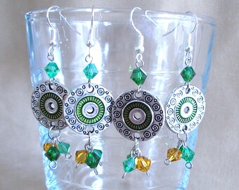 Silver Green Disk Dangle Earrings w/Green & Gold Crystals, Celtic Earrings St Patrick's Day Jewelry, Beaded Earrings Handmade Gift for Her