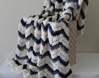 Afghan - Handmade Crochet Ripple Blanket - White with a Blue Coordinating Multi Chevron Throw Cozy Lapaghan