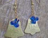 Upcycled Vintage 1977 Brass Bell-Shaped Dog Tag Earrings with Blue Rigging Beads