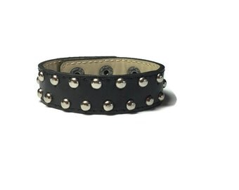 Black Leather Cuff - Round Studded Black Leather Cuff Bracelet - Leather Bracelet - Studded Black Leather Bracelet Cuff
