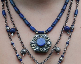 Loads of Lapis - Three Strand Ethnic Necklace with Afghan Lapis Pendant