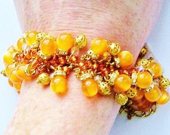 Orange Chunky Charm Bracelet GOLD, Swarovski Crystals & Orange Moonglow Beads OOAK One of a Kind Handmade