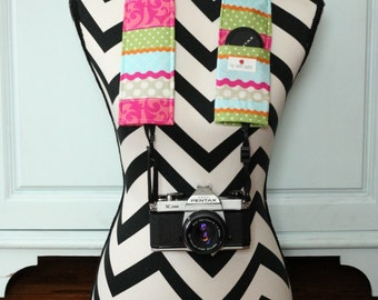 DSLR Camera Strap Cover- lens cap pocket and padding included- Happy Patchwork