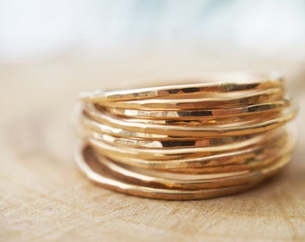 One thin hammered stacking ring / 14k Gold Filled / Valentine's gift