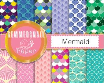 Mermaid digital paper, scallops, fish scales, mosaic texture mermaid background, sea digital paper
