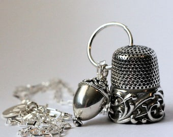 Peter Pan Kiss Thimble Necklace Acorn and Thimble Hidden Kisses Peter Pan and Wendy Sterling Silver