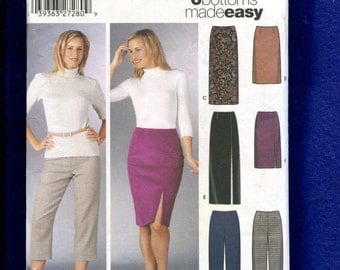 Simplicity 5259 Fitted Straight Skirts with Slits & Capri Pants Size 8 to 14 UNCUT