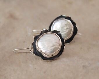 Coin Pearl Earrings, Bezel Set White Fresh Water Pearls, Dangle Sterling Silver Flower Earrings, Wildflower