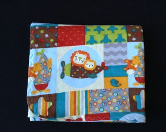 Animals in Airplanes Flannel Baby Blanket, Ready to Ship, Baby Boy Blanket